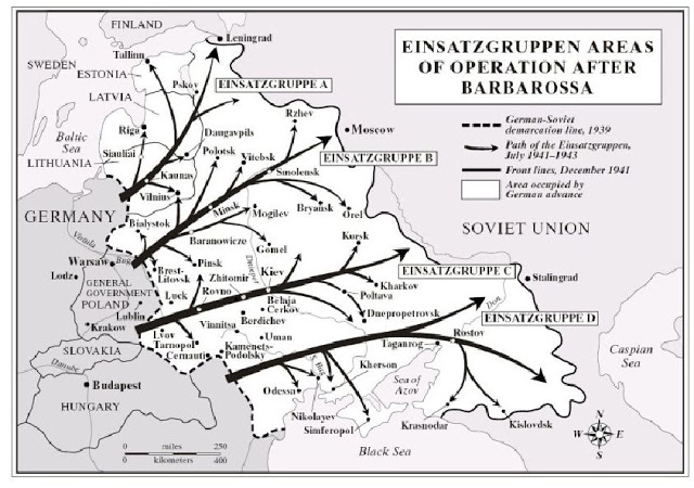 Einsatzgruppen areas operations barbarossa map